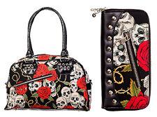 Banned Skulls & Roses Handbag & Wallet SET Rockabilly Gothic Bag Black Red