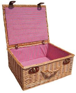 "Wicker Hamper Red Gingham Lining - Christmas Gift Basket, Picnic Hamper 18"""