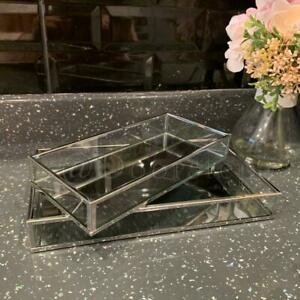 Set of 2 Rectangle Silver Mirror Trays Vanity Perfume  Makeup Candle Tray Plate