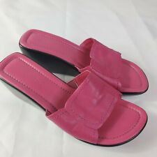 Westies Womens Size 7M Leather Pink Wedge Slip On Shoes Slide Sandals