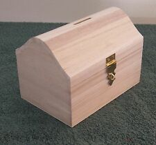 Unfinished MEDIUM Wood Craft TREASURE CHEST BANK  Box Or Small Pet Urn