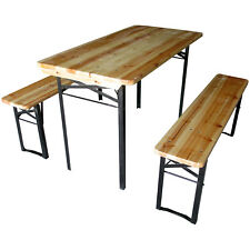 Wooden Folding Beer Table Bench Set Outdoor Camping Furniture Steel Leg Trestle