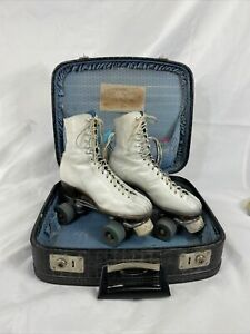 Vtg Betty Lytle By Hyde Chicago White Roller Skates USA Women's Sz 8-8.5 w/case