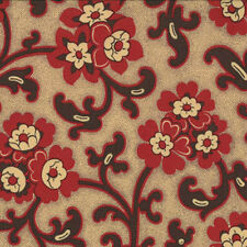 Moda French General Chateau Rouge Floral Toussaint Fabric in Faded Red 13623-14