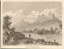 ILE MAURICE MAURITIUS LA MONTAGNE DES BAMBOUS IMAGE 1862 OLD PRINT