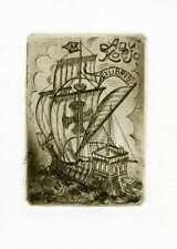 Sailing Ship, Ex libris Etching by Mati Metsaviir, Estonia
