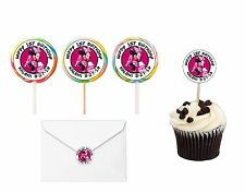 30 Minnie Mouse in Paris Cupcake Toppers Picks Stickers Lollipop Labels 1.5 in