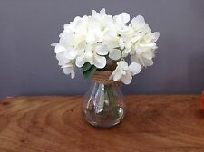 NEW Stunning ~ Artificial White Flower Hydrangea in Glass Vase 22cm