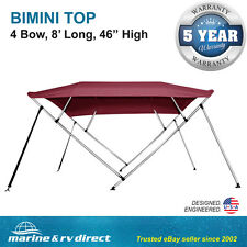 "New Bimini Top Boat Cover 4 Bow 46"" H 67"" - 72"" W 8 Foot Long Burgundy"