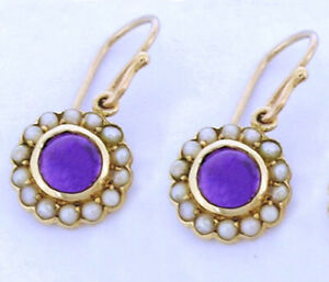 VINTAGE style GENUINE 9ct Gold Natural Amethyst & Pearl Round Cluster Earrings