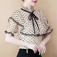 Summer Fairy Women's Ruffle Polka Dot Short Sleeve Lace Party T Shirt Blouse Top