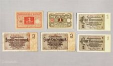 Lot of 6 Germany Rentenmark and Notgeld Paper Notes, 1 and 2 Mark Denominations