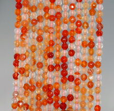 """4MM  AGATE GEMSTONE ORANGE RED FACETED ROUND LOOSE BEADS 15"""""""