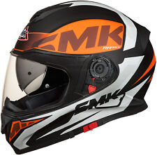 SMK Helmets - Twister - Logo White Orange Black-Full Face Dual Visor Bike Helmet