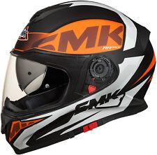 SMK Helmets - Twister - Logo White Orange Black-Full Face Dual Visor Bike Helmet