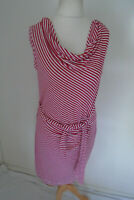 PHASE EIGHT Dress Size M 12/14 Red & White Stripe Ruched Jersey Stretch Cowl