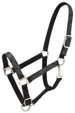 * Sale Black Nylon Horse Halter With Leather Look Design Overlay New Horse Tack