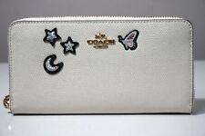 Coach Souvenir Embroidery Leather Chalk White Accordion Zip Wallet F25969