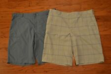 Set 2 Men's NIKE GOLF Fit Dry Shorts Blue Gray Plaid Size 40