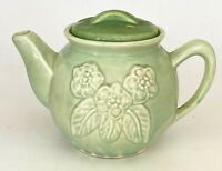 Vintage Brush McCoy 5F USA Green Pottery Teapot 6 Cup Embossed Flowers