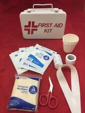New 13 Piece First Aid Kit in Metal Box Gauze, Scissors, Tape, Tourniquet, Cups