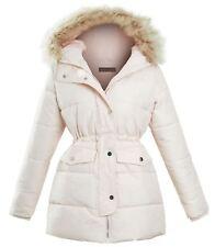 Womens Quilted Longline Pink Faux Fur Hooded Ladies Winter Jacket Coat