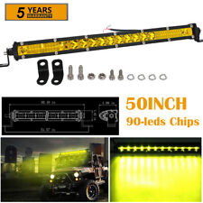 Yellow 50 Inch Super Slim Led Light Bar Fog Driving For Offroad Truck SUV 52''