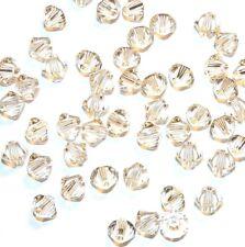 SCB358f Silk Clear Peach 4mm Faceted Xilion Bicone Swarovski Crystal Beads 48pc