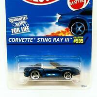 1995 Hot Wheels Chevrolet Corvette Sting Ray III Concept Convertible 595 Blue 3s