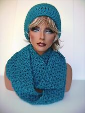 TURQUOISE BLUE CROCHET HAT AND INFINITY SCARF SET BEANIE BERET TAM SKI CAP CLOCH