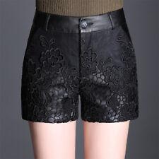 sexy women casual black lace pu leather shorts high waist hot pants shorts M-4XL