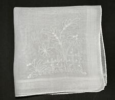 vintage handkerchief HANKY embroider GARDEN shabby cottage chic HAND ROLLED EDGE