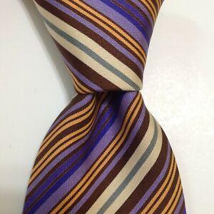 HERMES 5228 IA Men's Silk XL Necktie FRANCE Luxury STRIPED Purple/Brown EUC Rare