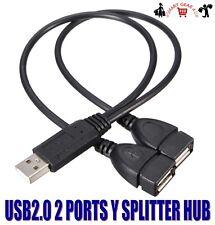 USB 2.0 USB2.0 MALE TO 2 FEMALE PORT HUB SPLITTER CABLE LEAD CHARGING DATA SYNC