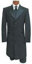 Men's Black Frock Tuxedo Coat Satin Lapels Long Western Duster Halloween Costume