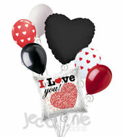 7 pc Messages of Love I Love You Heart Valentines Day Balloon Bouquet Be Mine