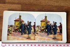 Russian Drinking Cart Dalny & Japanese Soldiers 1905 INGERSOLL Colour Stereoview
