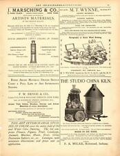 "1892 ""Studio China Kiln""-Firing With Gas-  F.A.Wilke- Antique Vtg Print 14 x 11"""