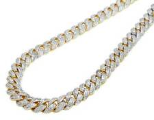 """Solid Yellow Gold Finish Miami Cuban Simulated Diamond Necklace Chain 30"""" 15MM"""