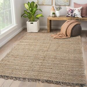 Hand Woven Flat Weave 100% Jute Thick Pile Reversible Natural Tan Area rug