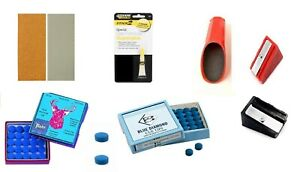 POOL or SNOOKER CUES RE TIPPING REPAIR KIT - GLUE, SCUFFERS, SANDPAPERS & 2 TIPS