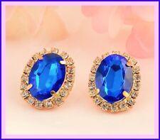 Elegant Glass Crystal Classic Oval Stud Earrings, Gold/Blue