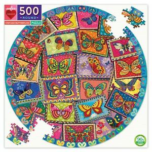 eeBoo 500 Pc Round Puzzle – Vintage Butterflies Family Puzzle 03892