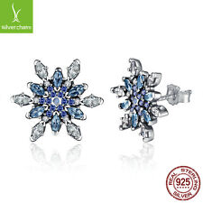 Hot 925 Sterling Silver Crystalized Snowflake,Blue Crystal Clear CZ Stud Earring