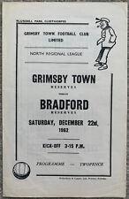 More details for grimsby town reserves v bradford park avenue reserves 1962/63