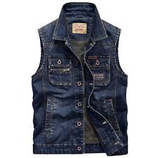 New Men's Denim Vest Jean Jacket Waistcoat Sleeveless Vintage Punk Casual Jacket