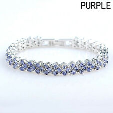 Wedding Jewelry White Multicolor Crystal Cubic Zirconia Amethyst Tennis Bracelet