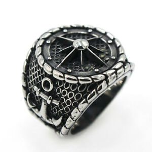 Men's Compass Anchor Rings 316L Stainless Steel Voyage Anchor Navy Ring Vintage