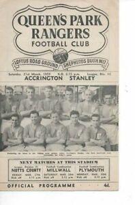 Queens Park Rangers v Accrington Stanley 1958/59 Division 3