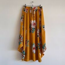 temt size 8 yellow floral skirt flower print maxi midi boho summer